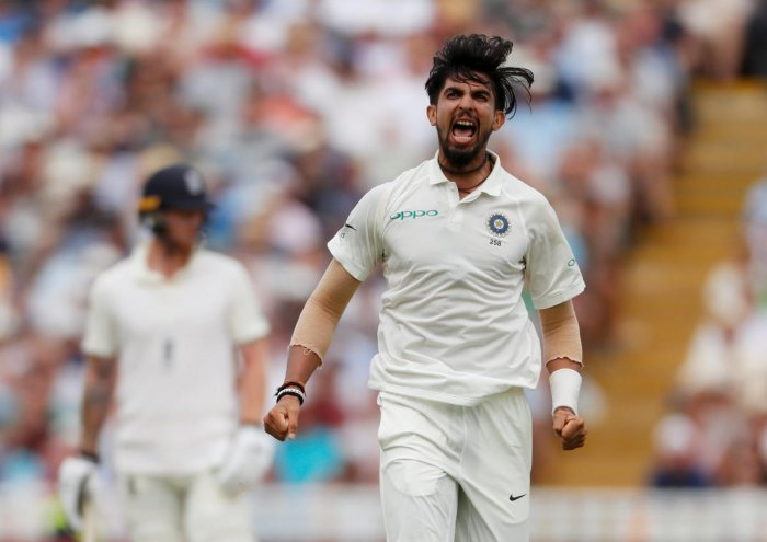 India paceman Ishant Sharma celebrates after dismissing England's Jonny Bairstow in the second innings of the first Test at Edgbaston on Friday. Reuters