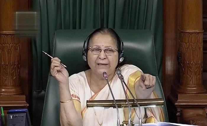 Speaker Sumitra Mahajan conducts proceedings in the Lok Sabha during the Monsoon session of Parliament. (LSTV GRAB via PTI/File Photo)