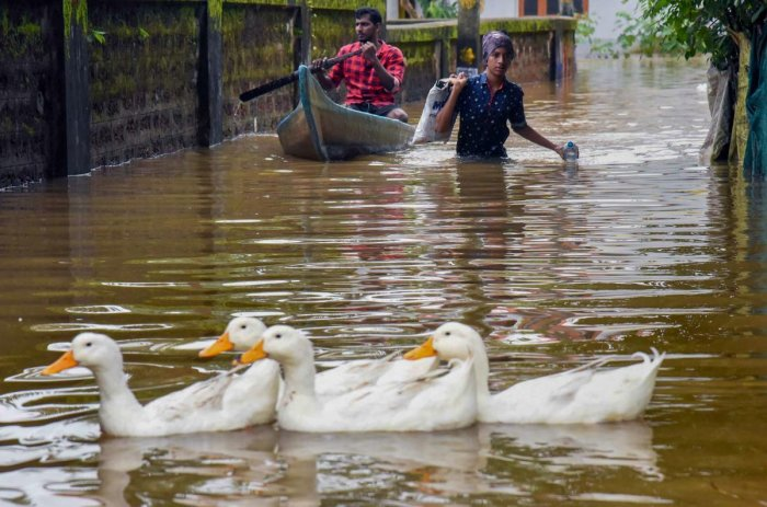 A view of a flooded locality after heavy rains, at Elloor in Kochi on Friday. PTI