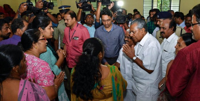 Kerala Chief Minister Pinarayi Vijayan during a visit to a relief camp at Kozhencherry, in Pathanamthitta on Thursday, Aug 23, 2018. (PTI Photo)