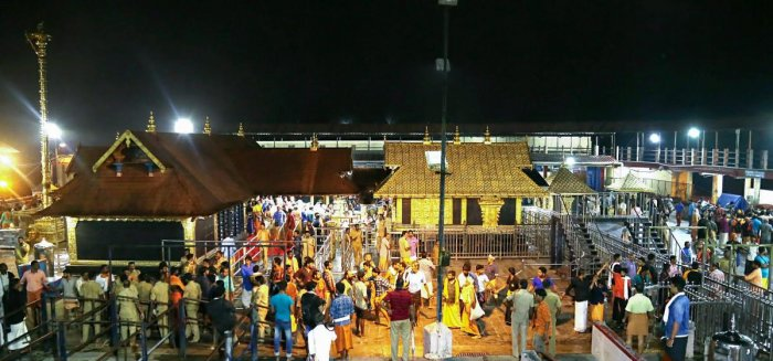 Devotees pay obeisance Lord Ayyappa temple in Sabarimala. (PTI file photo)