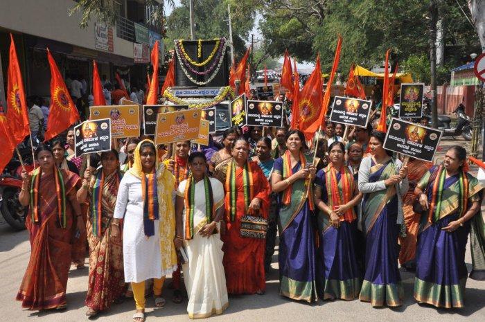 P S Sreedharan Pillai, president of the BJP in Kerala, takes out arath yatra on November 8