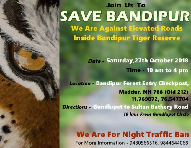The poster of #nighttrafficbeda campaign against demand for night traffic and elevated roads in Bandipur forests.