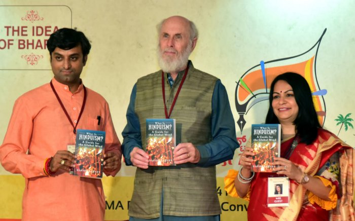 """Author Dr David Frawley's """"What is Hinduism""""—a guide for global mind was released, at Mangaluru Lit Fest, in Mangaluru on Sunday."""