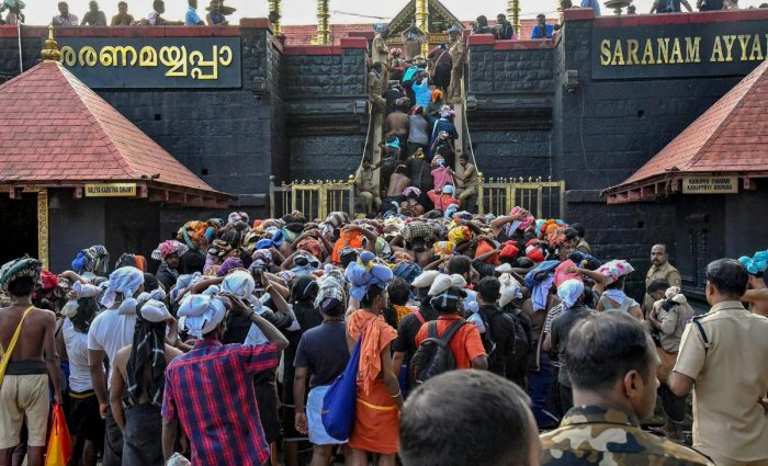 Devotees arrive at Sabarimala Temple, in Pathanamthitta, on November 5, 2018. PTI