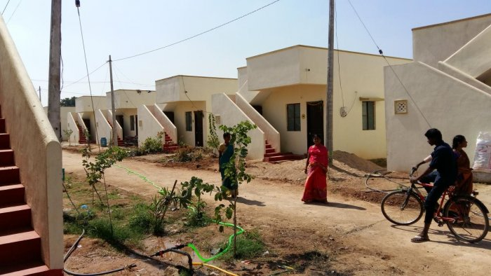 The newly built two-bedroom houses in Chintamadaka. DH PHOTO