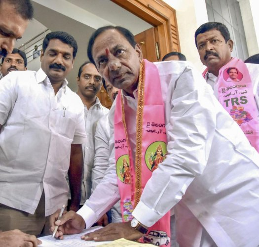 TRS chief K Chandrasekhar Rao arrives to address his party legislator at TG Bhavan, in Hyderabad on Wednesday. PTI