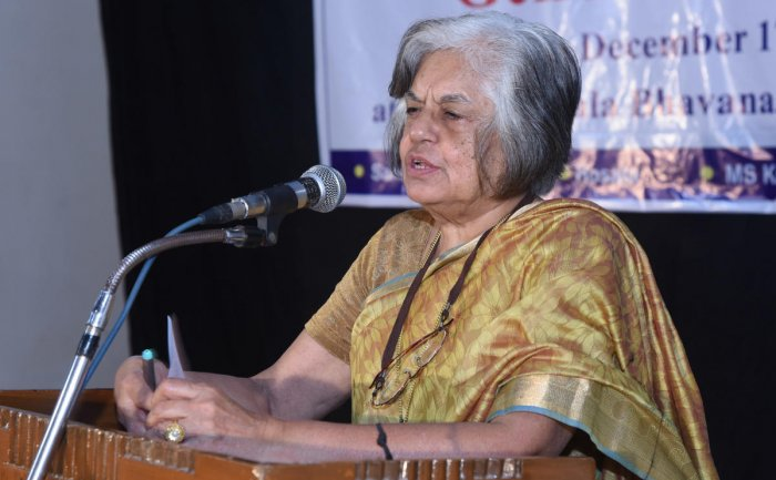 Supreme Court lawyer and former additional solicitor general of India, Indira Jaising delivers a lecture during 'B V Kakkillaya inspired orations 2018' at Ravindra Kala Bhavan in University College, Mangaluru on Monday