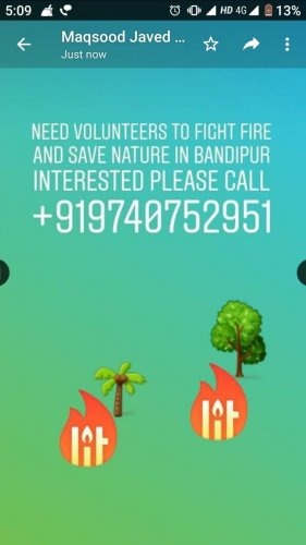 A screenshot of an invitation for volunteers to fight fire and to save nature in Bandipur.