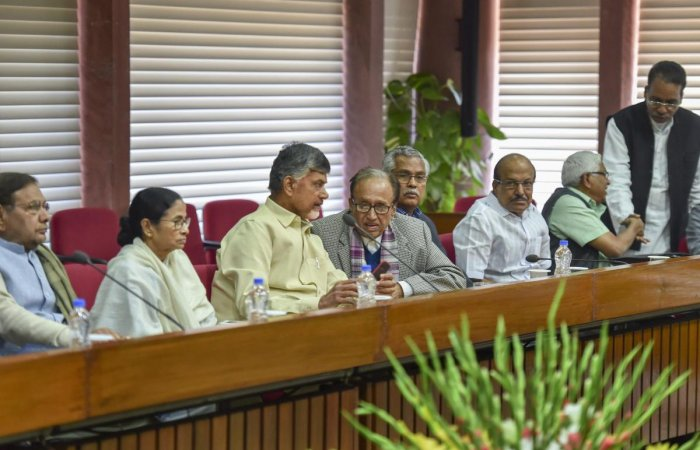 LJD leader Sharad Yadav, TMC chief Mamata Banerjee, TDP chief N Chandrababu Naidu, CPI general secretary S Sudhakar Reddy and other leaders during an Opposition parties' meeting to discuss the Common Minimum Programme (CMP) and chalk out future strategy f