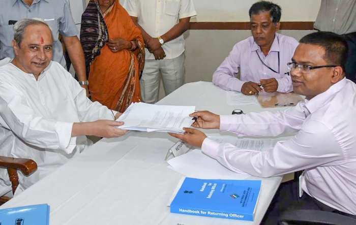 Biju Janata Dal President and Odisha Chief Minister Naveen Patnaik files his nomination papers for Hinjili Assembly constituency ahead of the elections, at Chatrapur in Berhampur, on March 20, 2019. PTI