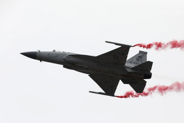Pakistan Air Force (PAF) JF-17 Thunder fighter jet performs during the Pakistan Day military parade in Islamabad, Pakistan. (Reuters Photo)