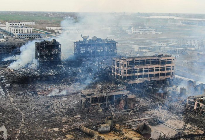 Thursday's explosion in Yancheng city, eastern Jiangsu province razed an industrial park and blew out the windows of surrounding homes. (AFP Photo)