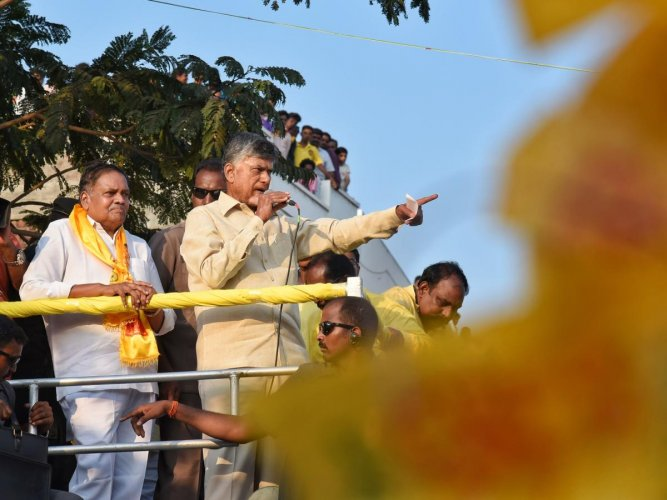 Naidu during election campaigning. (DH Photo)
