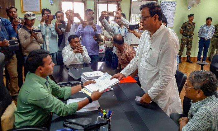 Communist Party of India-Marxist politburo member Mohammad Salim files his nomination papers from Raiganj constituency ahead of the upcoming Lok Sabha polls, in North Dinajpur district, on Monday. PTI
