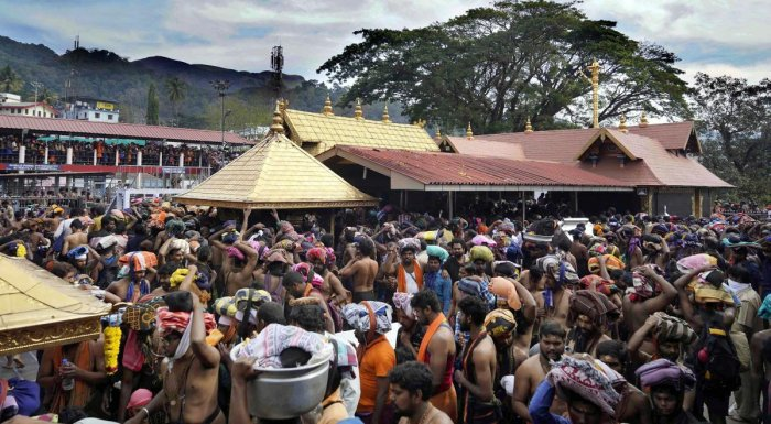 Scores of pilgrims took the position at various viewpoints near the temple as well as at Pamba since Sunday to get a clear view of the Makarajyothi that appeared at the Ponnambalmedu mountain ranges. As per belief, a star will also glow in the sky coinciding with the event. PTI file photo