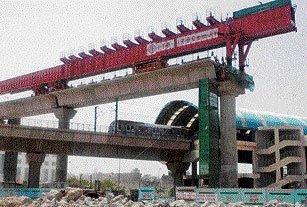 DMRC lays Metro tracks at record height in Karkarduma