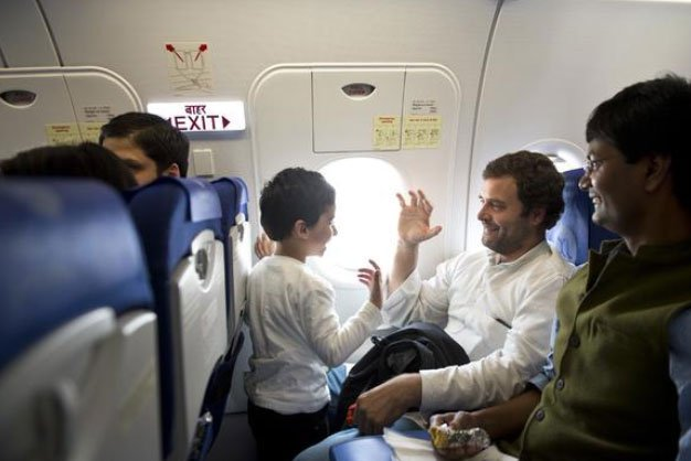 Rahul travels to Kerala in budget airline; poses for photos