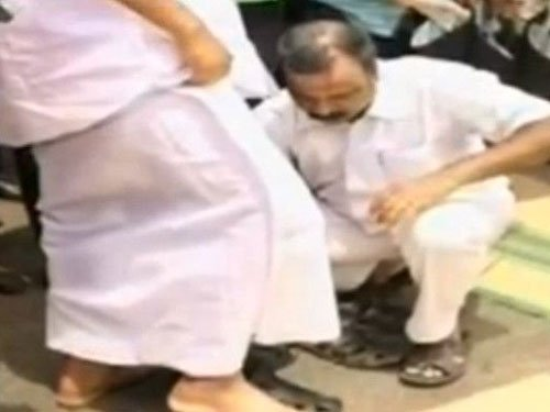 Kerala Speaker courts controversy after driver seen helping him wear footwear