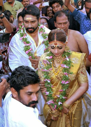 Actor Bhavana got married to Kannada Producer Naveen in a ceremony at Thiruvambadi temple in Thrissur, Kerala