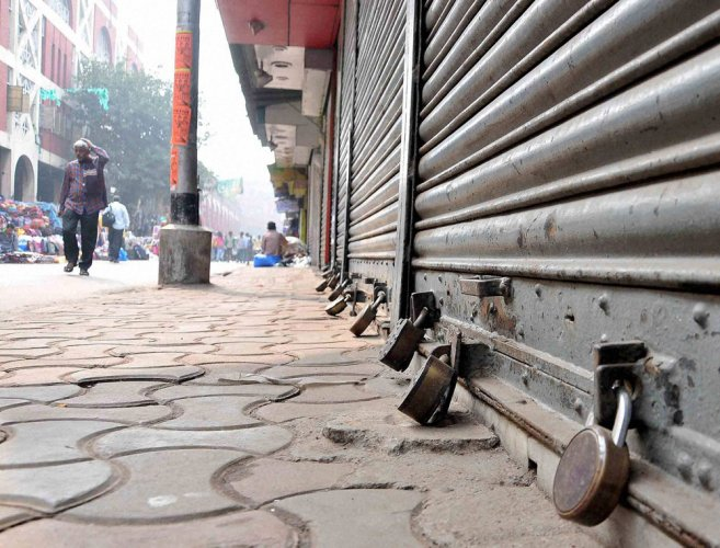 Despite assurance by the Kerala government and the police that adequate security will be provided to vehicles and shops during the two-day trade unions' general strike, the strike badly hit life across the state. PTI file photo