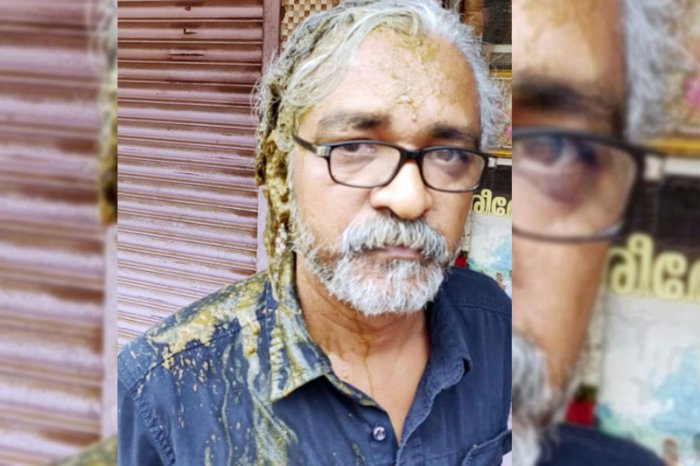 Cow dung was poured on national award-winning filmmaker Priyanandanan at Thrissur in Kerala on Friday morning. (Image courtesy Twitter)