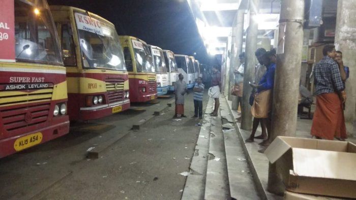 State run KSRTC buses parked at Adoor bus stand in Pathanamthitta district on Wednesday night. KSRTC stopped the services ahead of hartal. DH photo.
