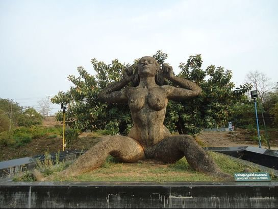 Kerala's iconic 'Yakshi' statue, the gigantic nude woman sculpture. (Image courtesy Twitter)