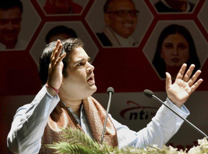 BJP MP Varun Gandhi speaking at the Parliamentarian Conclave at Gayan Bhawan in Patna. PTI File Photo