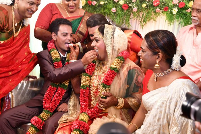 Ishaan and Surya at their wedding in Thiruvananthapuram on Thursday. DH photo