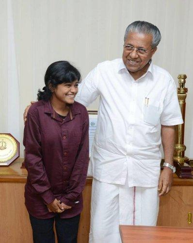 Hanan Hamid with Kerala Chief Minister Pinarayi Vijayan on Wednesday. Facebook