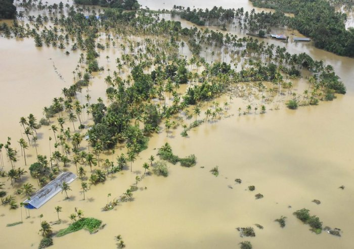 A view of the flood affected areas, in Kochi on Sunday, Aug 19, 2018. (PTI Photo)