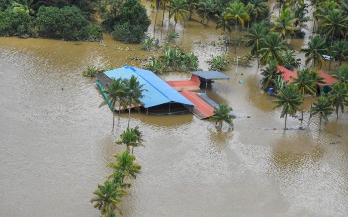 A view of the flood-affected areas, in Kochi on Sunday. PTI