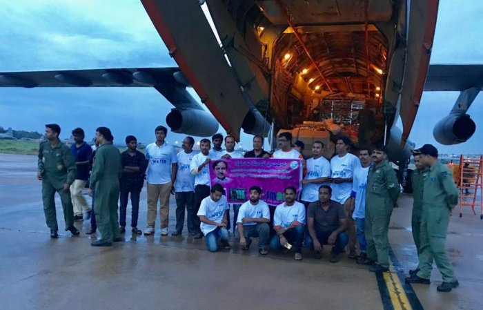 Assistance from Telangana being airlifted from Hyderabad.
