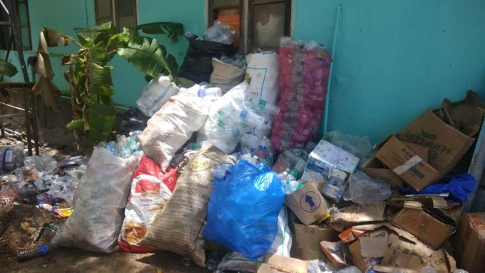 Waste dumped at a relief camp in Kerala.