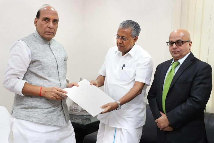 Union Home Minister Rajnath Singh called on by the Kerala Chief Minister Pinarayi Vijayan, in New Delhi, Kerala Chief Secretary Tom Jose is also seen. PTI Photo