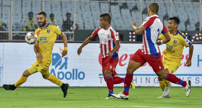 A slice of action from the ISL opening game between Kerala Blasters and ATK in Kolkata on Saturday. PTI