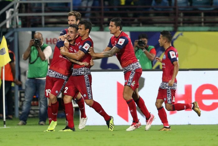 Carlos Calvo (left) of Jamshedpur FC celebrates after scoring a goal against Kerala Blasters FC during their ISL game on Tuesday. SPORTZPICS