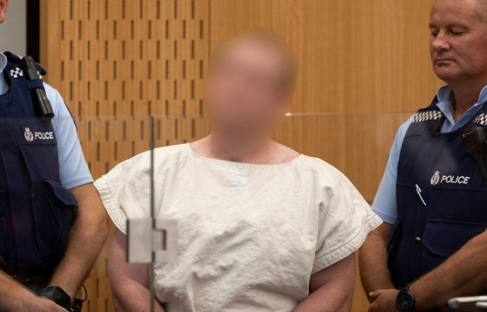 Brenton Tarrant, charged for murder in relation to the mosque attacks, is seen in the dock during his appearance in the Christchurch District Court, New Zealand March 16, 2019. Mark Mitchell/New Zealand Herald/Pool via REUTERS.