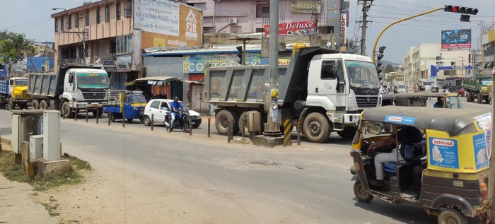 The unabated movement of trucks at NMC Circle in Chikkamagaluru is a daily hassle for locals.