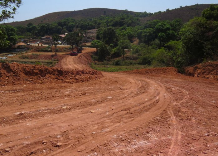 The work on a road at Devaramane in Mudigere taluk.