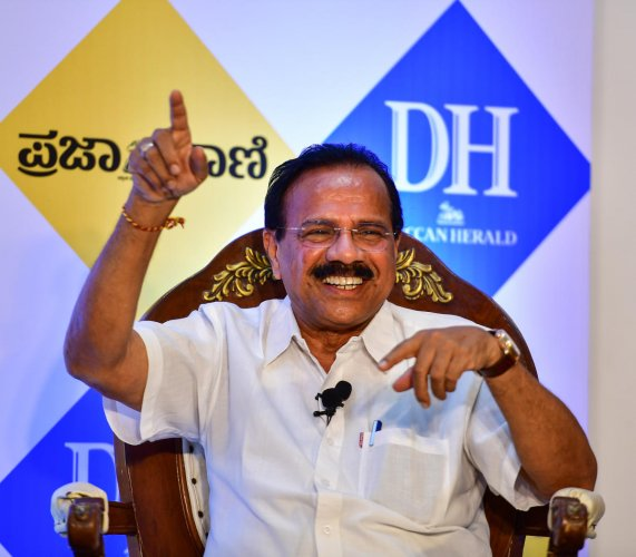 Union Minister D V Sadananda Gowda at an interaction with DH.