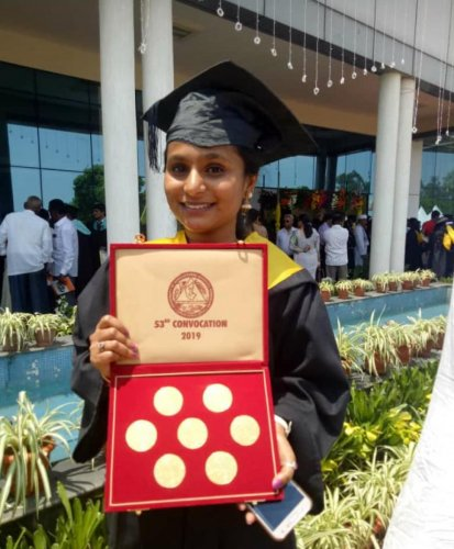 Suma K, the agriculture student who bagged 12 gold medals at the 53rd Convocation of the University of Agricultural Sciences (UAS), Bengaluru.