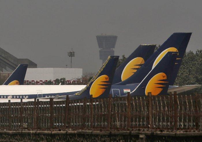 Jet Airways aircrafts are seen parked at the Chhatrapati Shivaji Maharaj International Airport in Mumbai, India, March 26, 2019. (REUTERS)