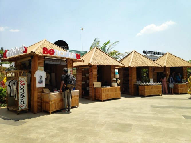 These stalls are built with bamboo. They will be around for a year and a half.
