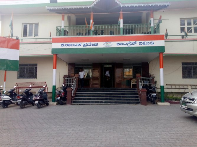 No bustle is evident at the Congress office on Queen's Road, or at the BJP office (below) in Malleswaram, with just three weeks to go for the Lok Sabha elections.