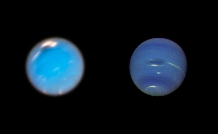 This is a composite picture showing images of storms on Neptune from the Hubble Space Telescope (left) and the Voyager 2 spacecraft (right). The Hubble Wide Field Camera 3 image of Neptune, taken in Sept. and Nov. 2018, shows a new dark storm (top center). In the Voyager image, a storm known as the Great Dark Spot is seen at the center. It is about 13,000 km by 6,600 km (approximately 8,000 miles by 4,100 miles) in size -- as large along its longer dimension as the Earth. Credits: NASA/ESA/GSFC/JPL
