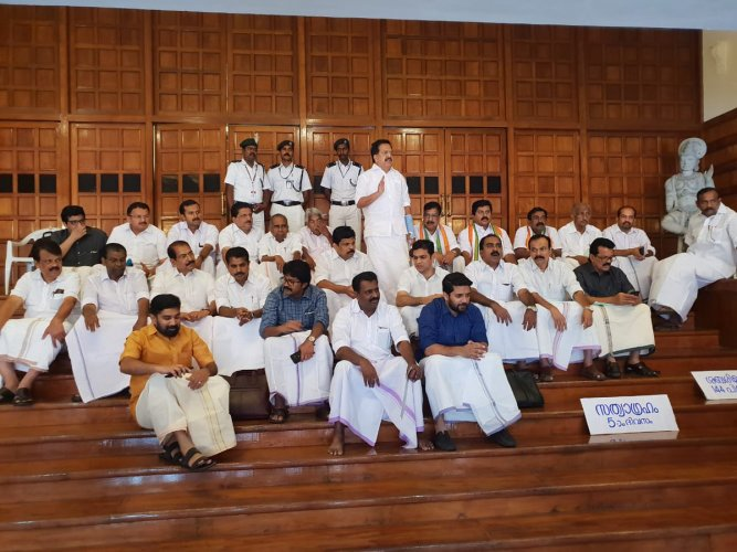 UDF MLAs VS Sivakumar (Congress), Parakkal Abdullah (IUML) and J Jayaraj (KCM) are observing 'indefinite satyagraha' at the entrance of state assembly over the issue of Sabarimala.