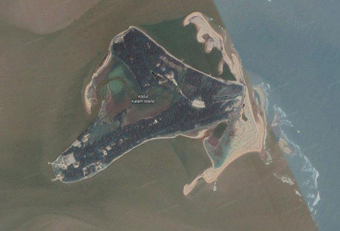Abdul Kalam Island (Wheeler Island), off the coast of Odisha. (Google Earth)