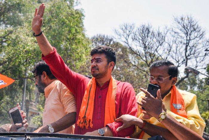 BJP's Bangalore South candidate Tejasvi Surya. DH Photo/ SK Dinesh